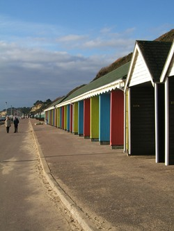 Beach huts on the promenade at Bournemouth