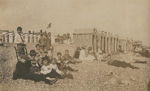 Beach tents and huts at Bexhill in summer of 1919