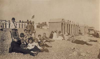 Bathing tents on Bexhill beach 1919 - by then bathing machines had all but disappeared