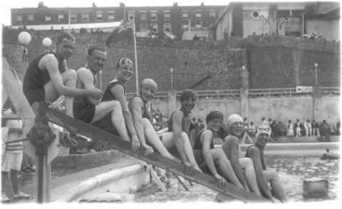 Happy bathers at Cliftonville Pool near Margate in the 1930s.
