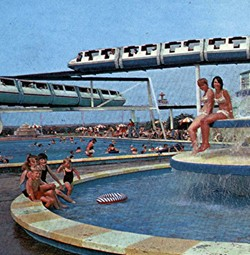 Monorail and swimming pool, Butlin's Minehead